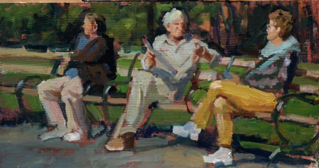 Park Bench Chat, Oil on Panel, 9 x 16 Inches, by Susan Grisell, $250