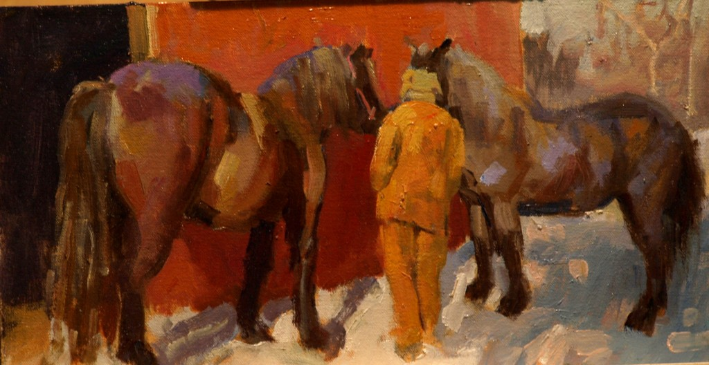 Belgian Mares, Oil on Canvas on Panel, 9 x 16 Inches, by Susan Grisell, $250