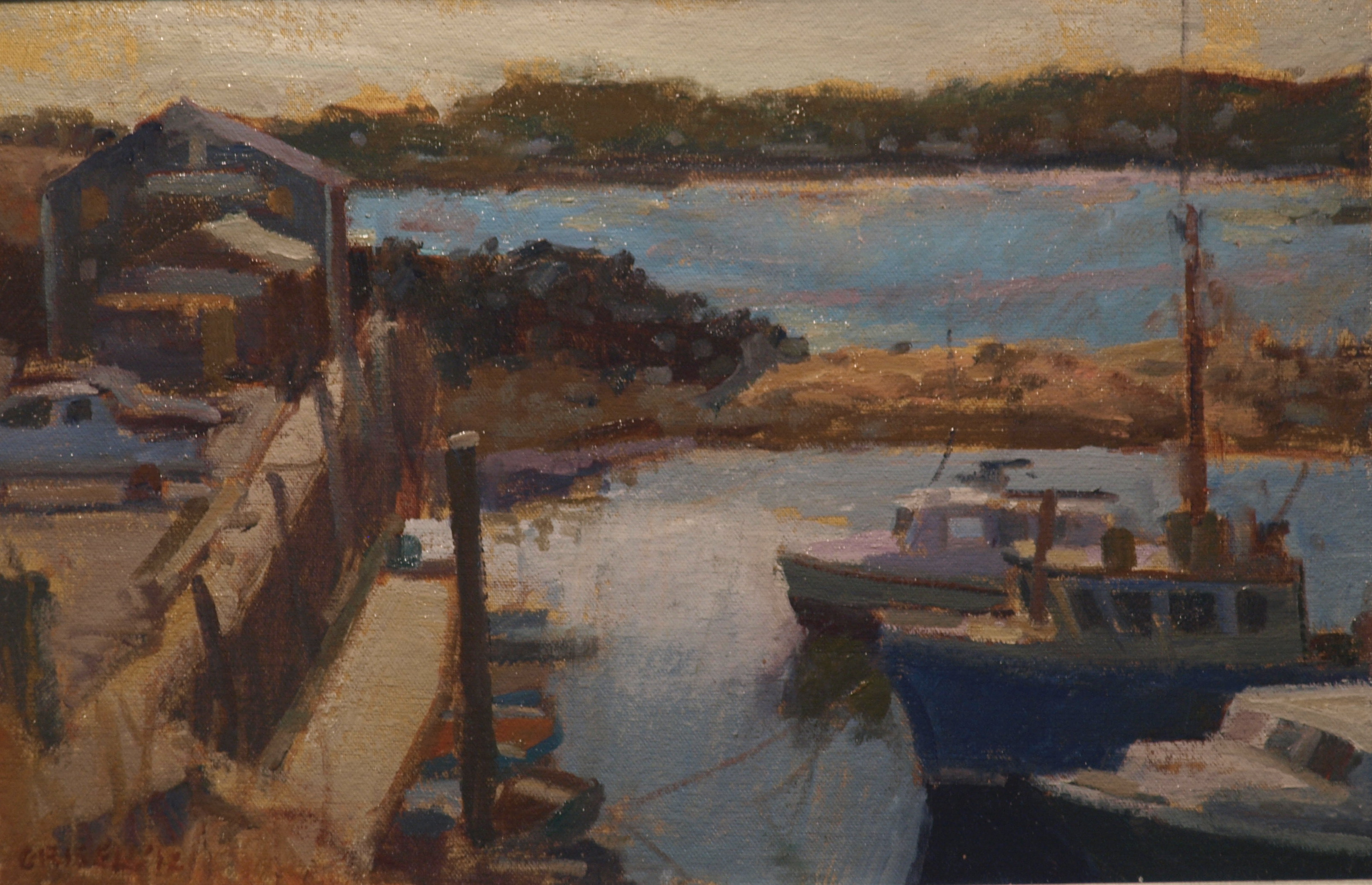 Boats - Rockport, Oil on Canvas on Panel, 12 x 18 Inches, by Susan Grisell, $275