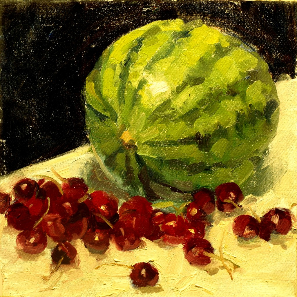 Cherries and Watermelon, Oil on Canvas on Panel, 12 x 12 Inches, by Susan Grisell, $300