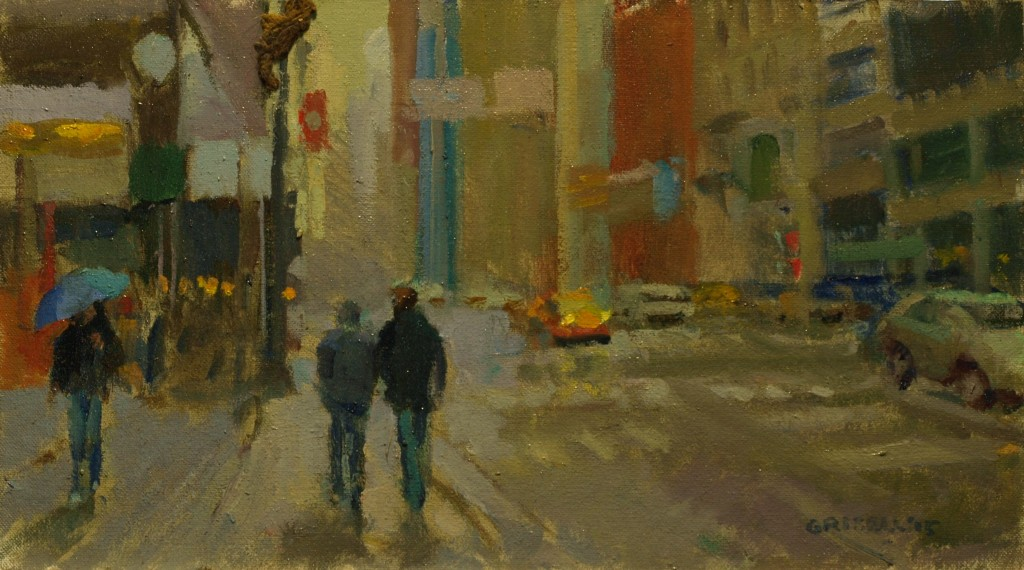 Light Rain -- New York, Oil on Canvas on Panel, 9 x 16 Inches, by Susan Grisell, $325