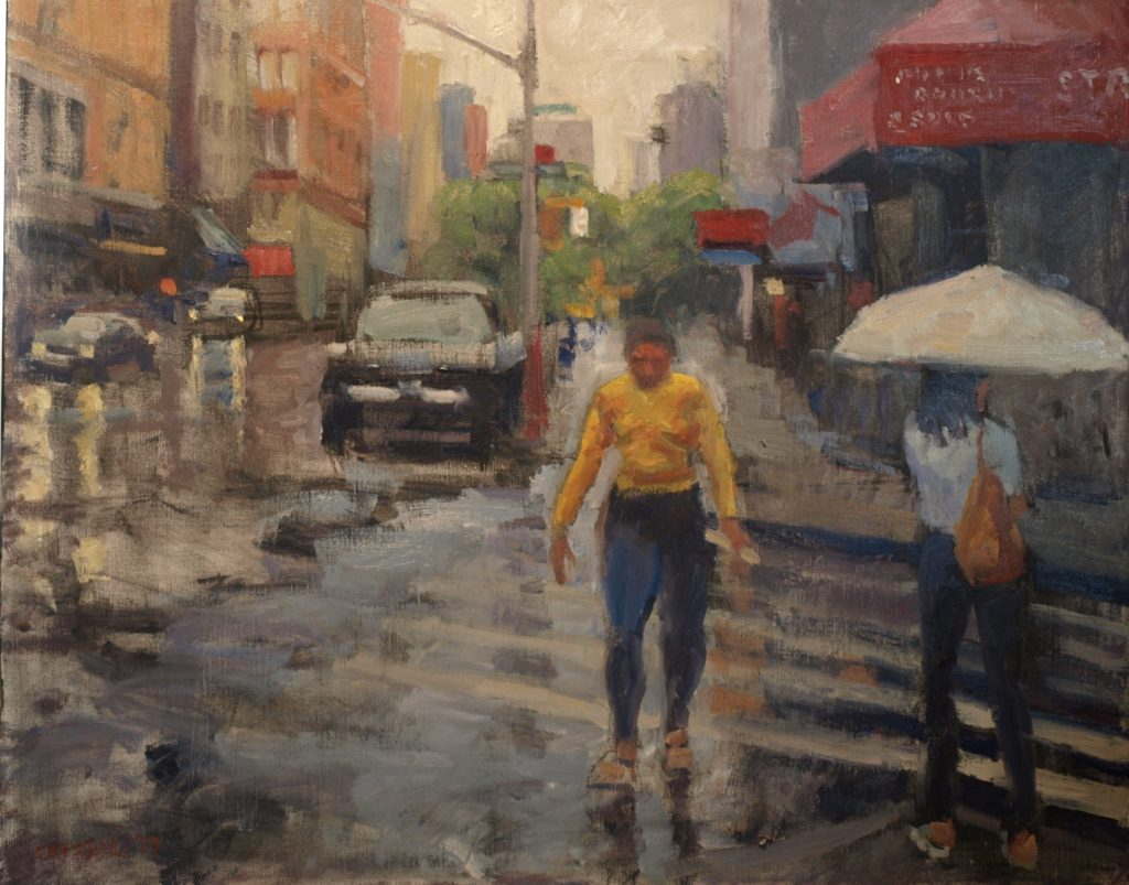 Rainy Day on Broadway, Oil on Canvas, 28 x 35 Inches, by Susan Grisell, $1500