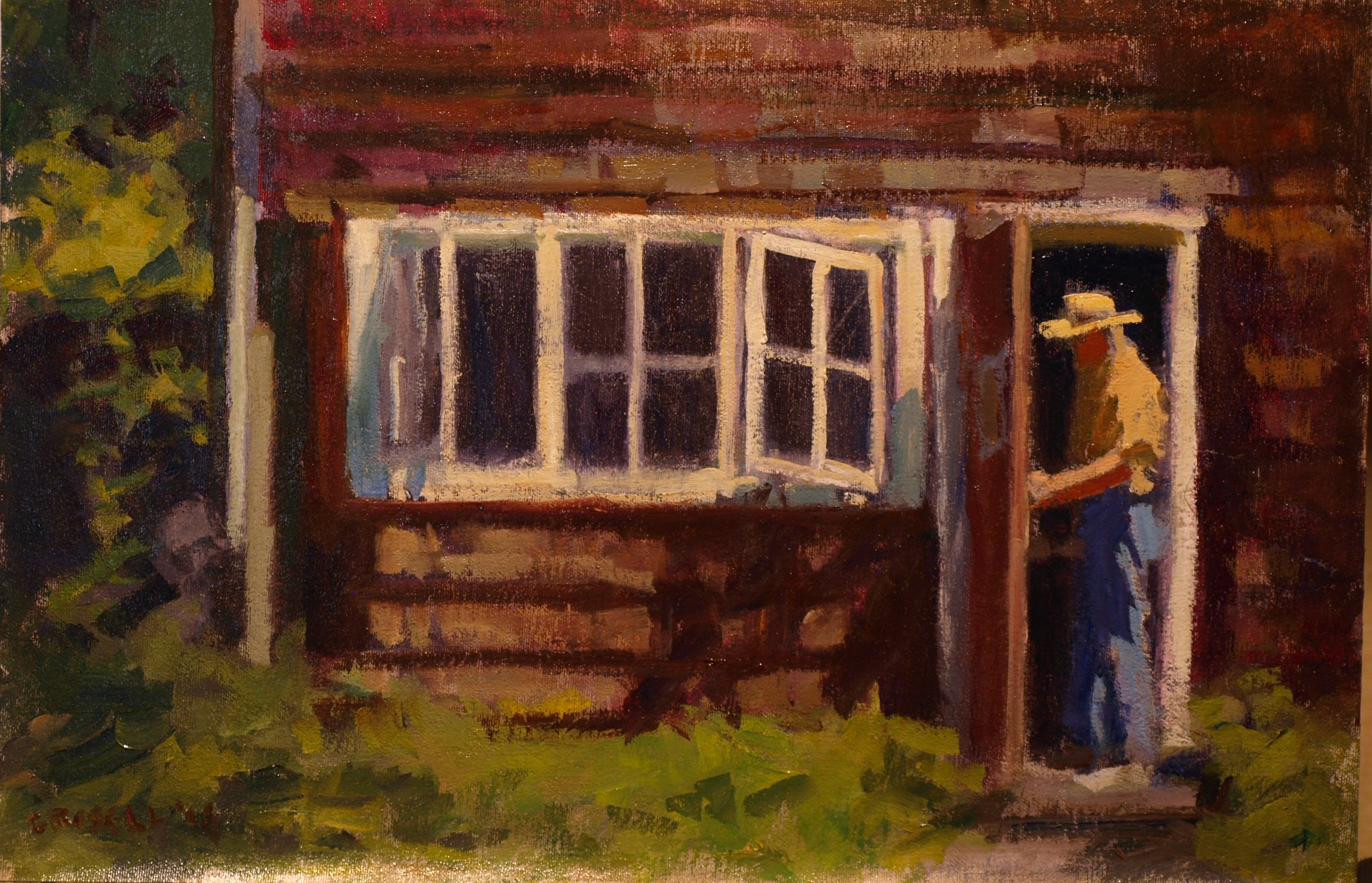Stepping Out, Oil on Canvas on Panel, 12 x 18 Inches, by Susan Grisell, $300