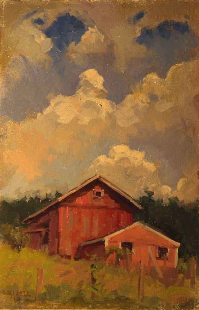Barn and Clouds, Oil on Canvas on Panel, 18 x 12 Inches, by Susan Grisell, $275