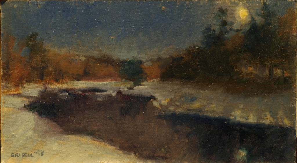 Moonlit River, Oil on Canvas on Panel, 9 x 16 Inches, by Susan Grisell, $300