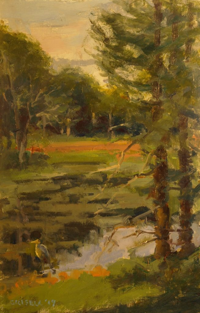Pond in Harwinton, Oil on Panel, 18 x 12 Inches, by Susan Grisell, $300