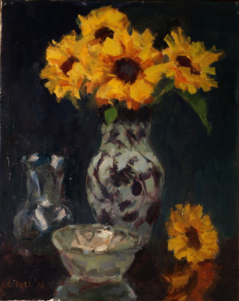 Sunflowers and Ceramic Glass, Oil on Canvas, 20 x 16 Inches, by Susan Grisell, $500