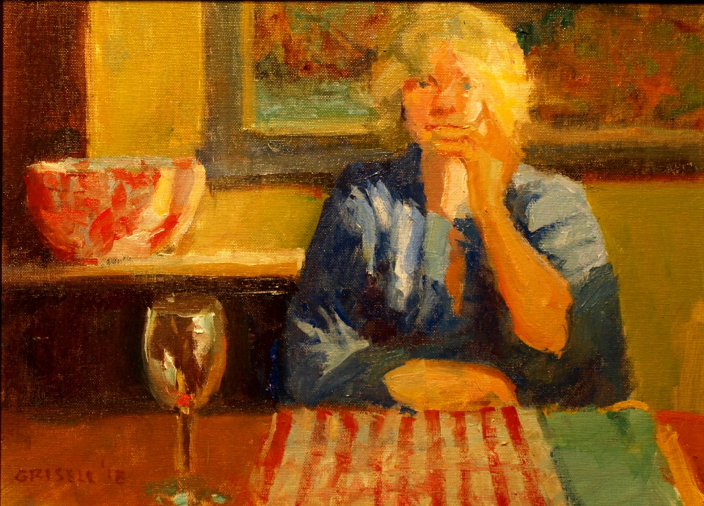At the Kitchen Table, 12 x 16 Inches, Oil on Panel, by Susan Grisell, $300