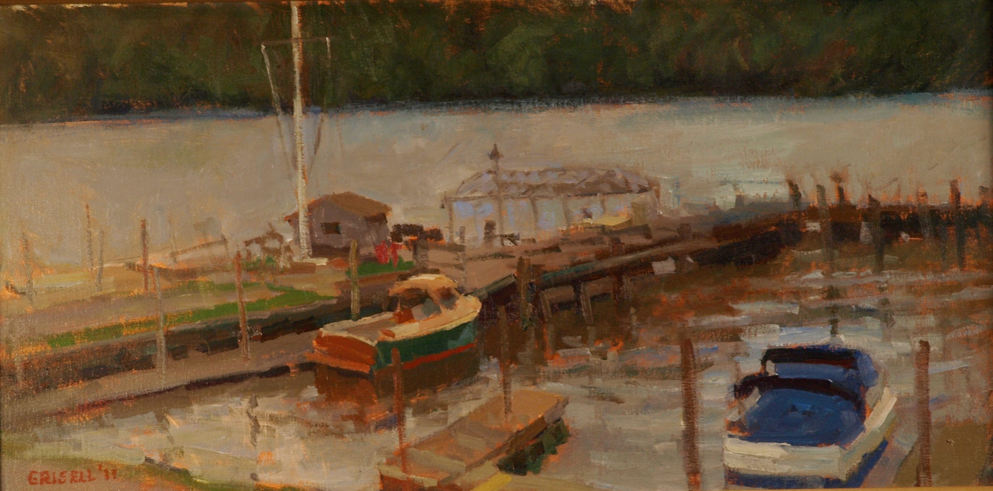 Boats Garrison, Oil on Canvas on Panel, 12 x 24 Inches, by Susan Grisell, $450