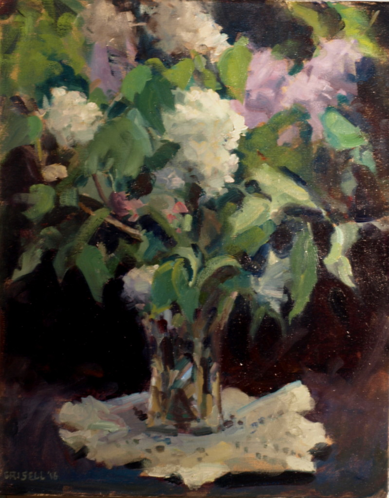 Lilacs and Lace, Oil on Canvas, 20 x 16 Inches, by Susan Grisell, $500