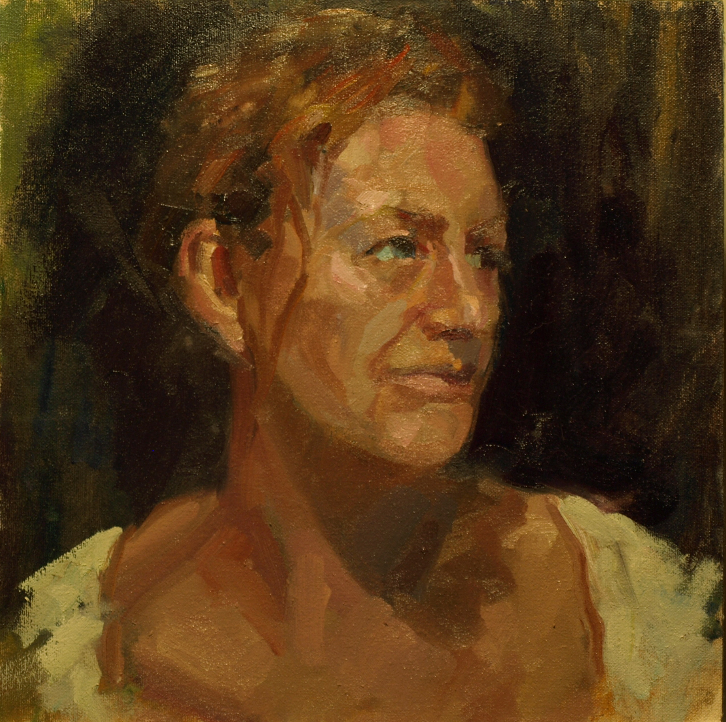 Martine in White, Oil on Canvas on Panel, 12 x 12 Inches, by Susan Grisell, $250
