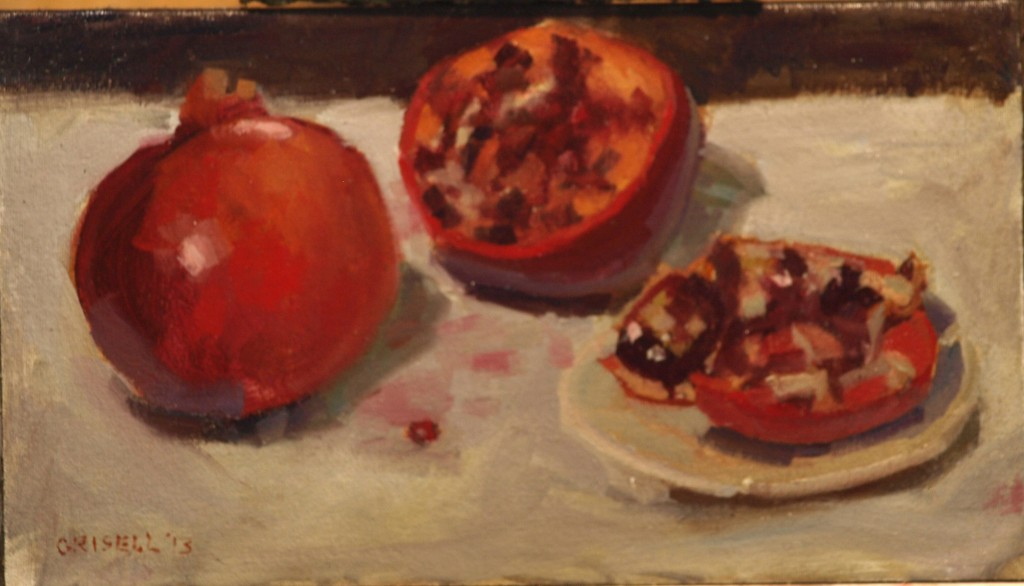 Pomegranates, Oil on Canvas on Panel, 9 x 16 Inches, by Susan Grisell, $250