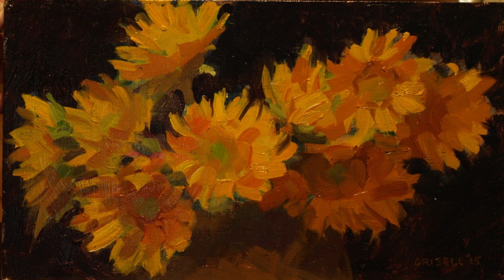Sunflowers, Oil on Panel, 9 x 16 Inches, by Susan Grisell, $300