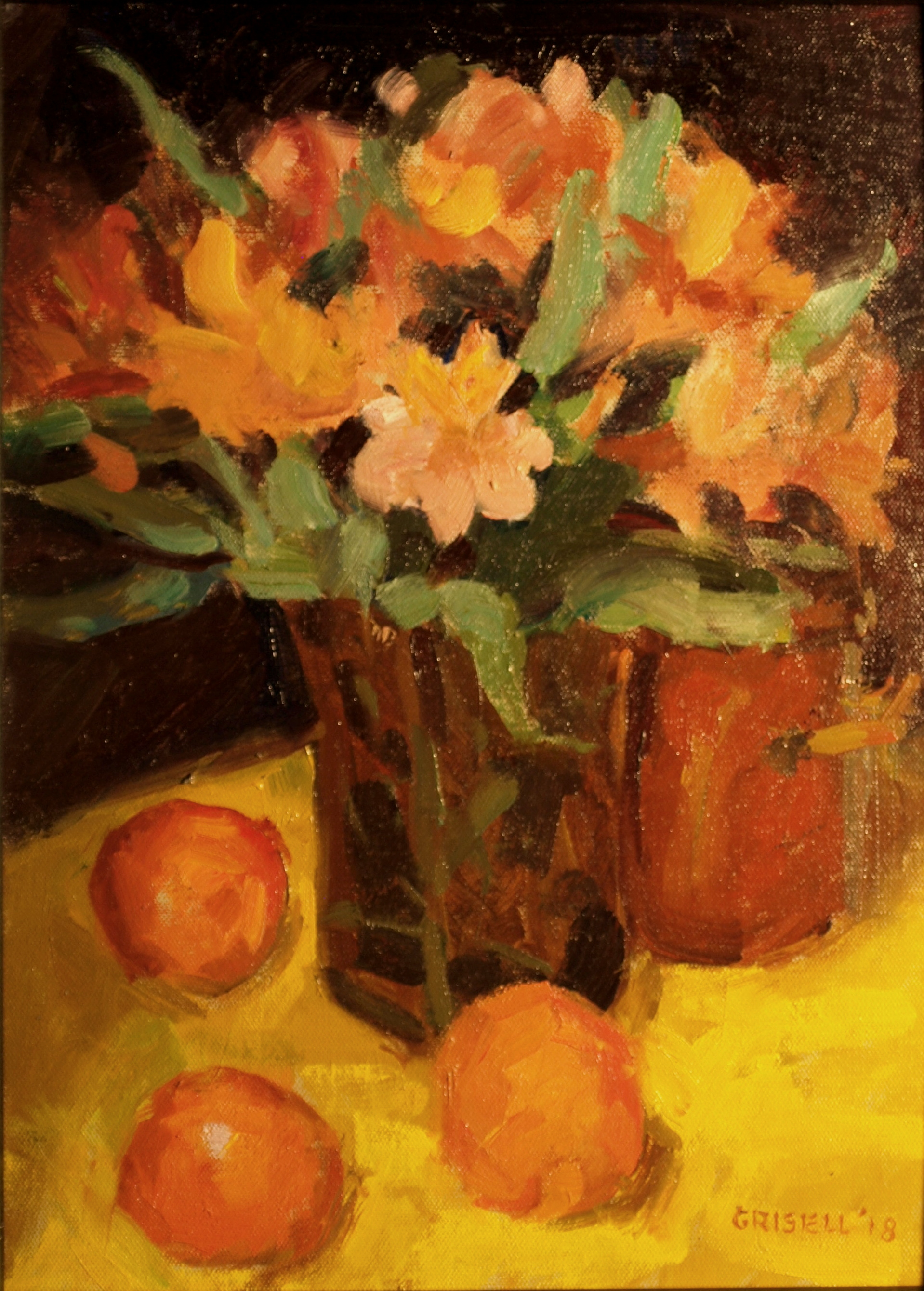 Alstromeria, Oil on Panel, 16 x 12 Inches, by Susan Grisell, $300