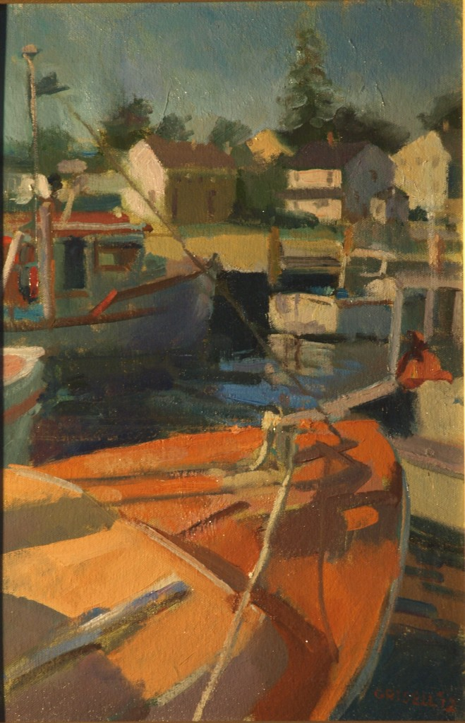 Boats - Stonington Village, Oil on Canvas on Panel, 18 x 12 Inches, by Susan Grisell, $275