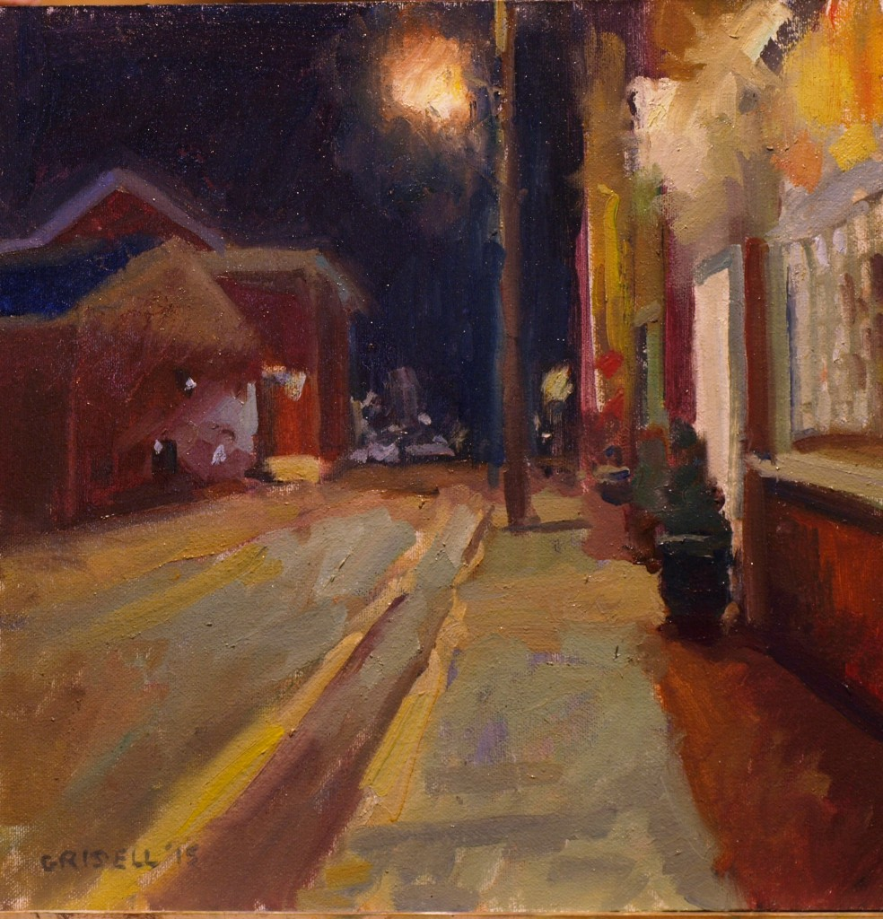 Night on Church Street, Oil on Canvas on Panel, 12 x 12 Inches, by Susan Grisell, $300