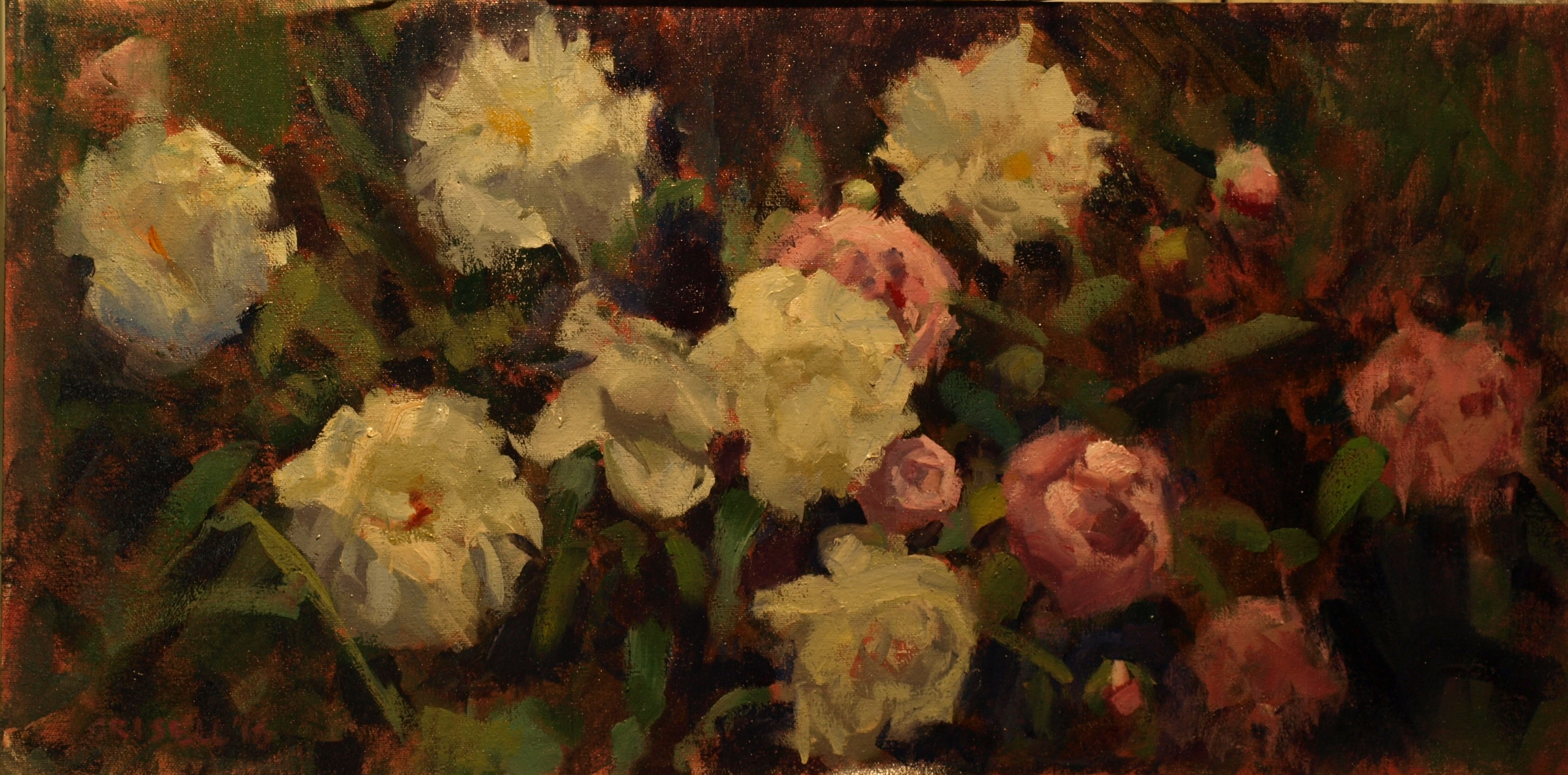 Peony Bed, Oil on Canvas on Panel, 12 x 24 Inches, by Susan Grisell, $500