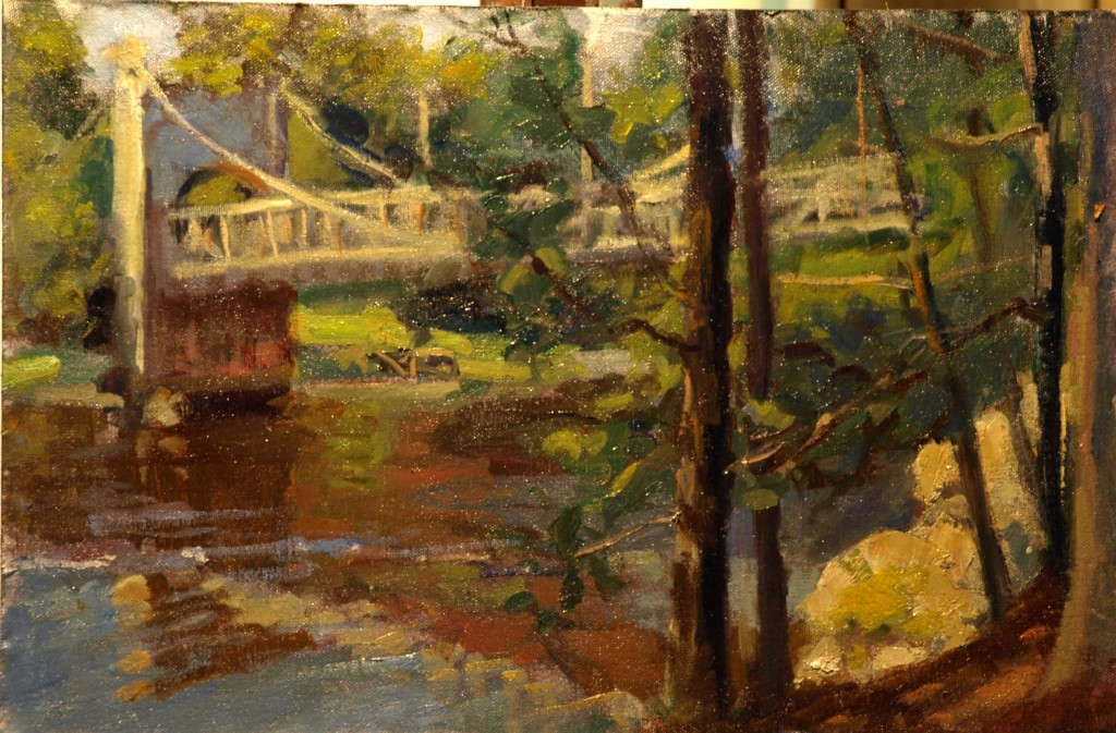 Chain Bridge, Oil on Canvas on Panel, 12 x 18 Inches, by Susan Grisell, $275