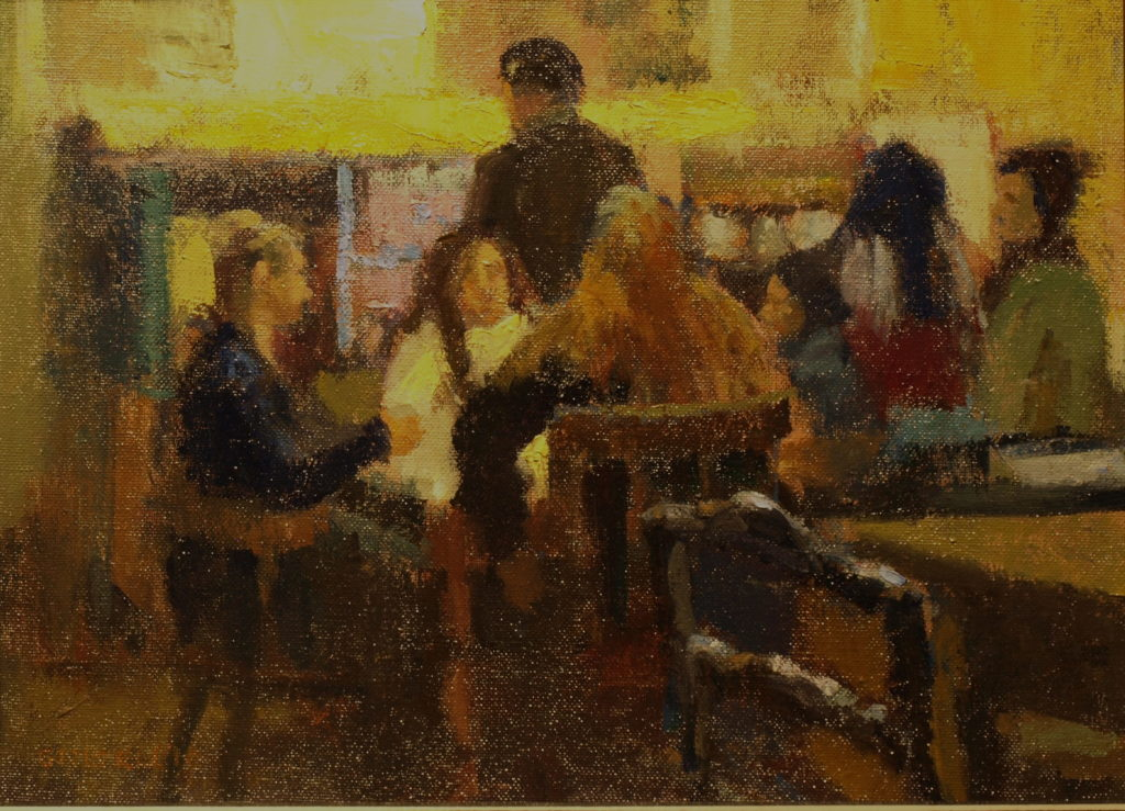 Friends Having Coffee, 12 x 16 Inches, Oil on Panel, by Susan Grisell, $300