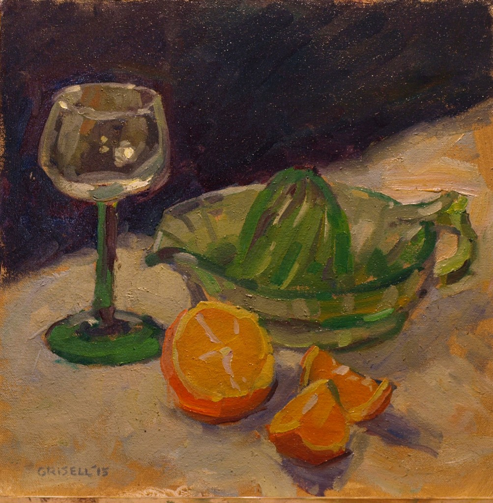 Juicer Orange Wine Glass, Oil on Canvas on Panel, 12 x 12 Inches, by Susan Grisell, $275