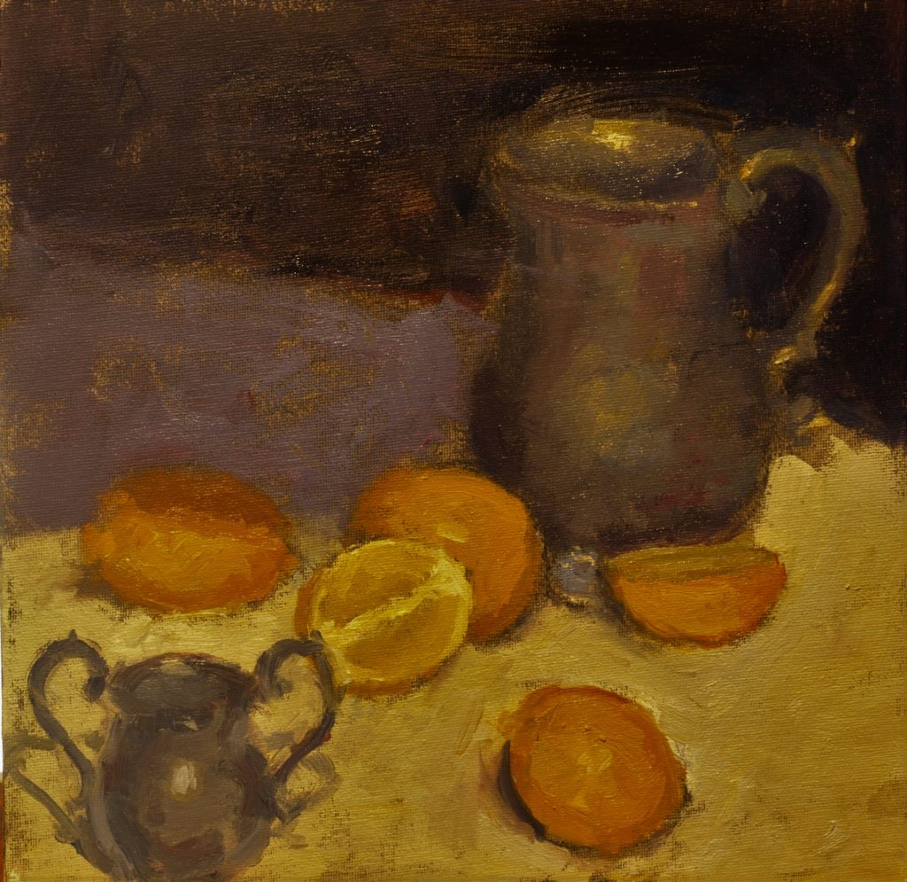 Pewter and Lemons, Oil on Canvas on Panel, 12 x 12 Inches, by Susan Grisell, $275