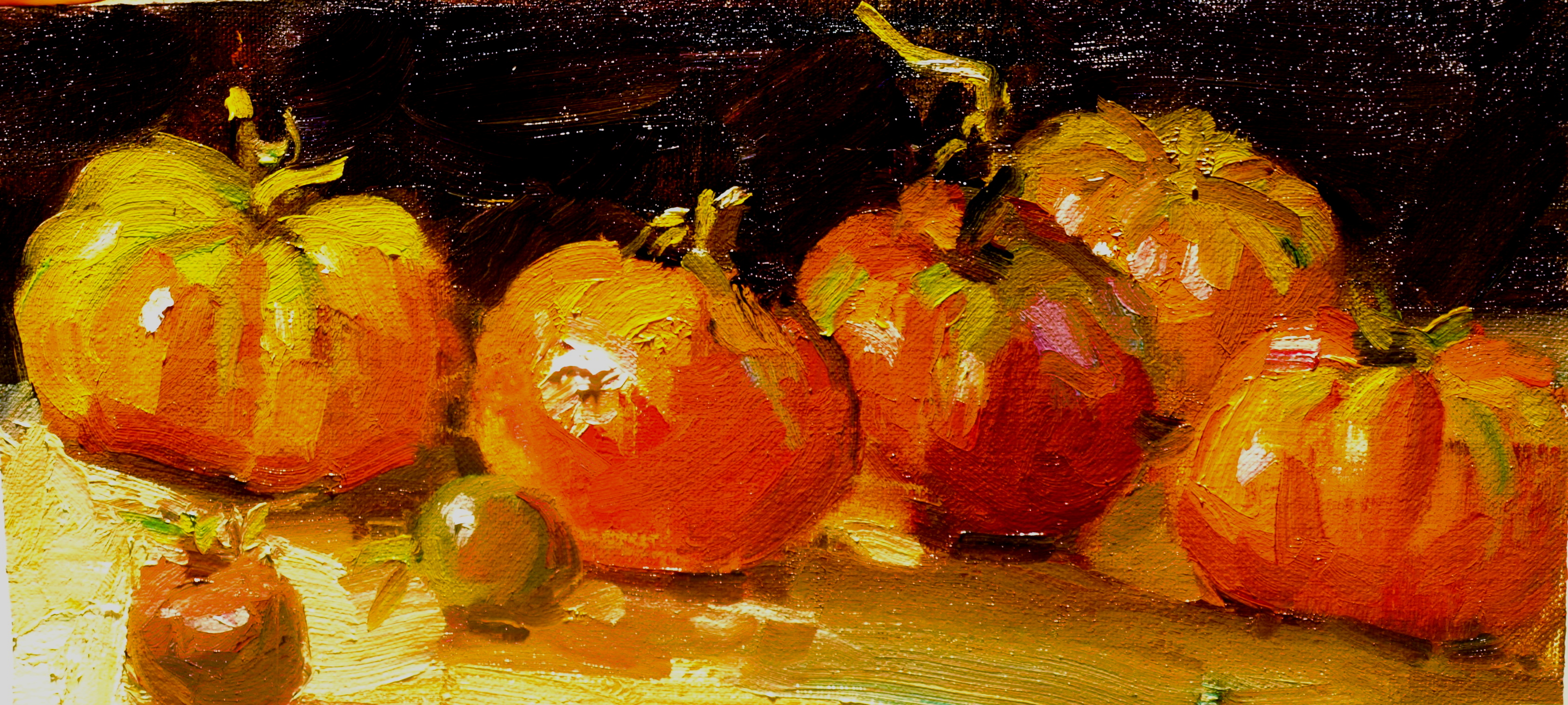 Tomatoes, Oil on Canvas on Panel, 6 x 12 Inches, by Susan Grisell, $150