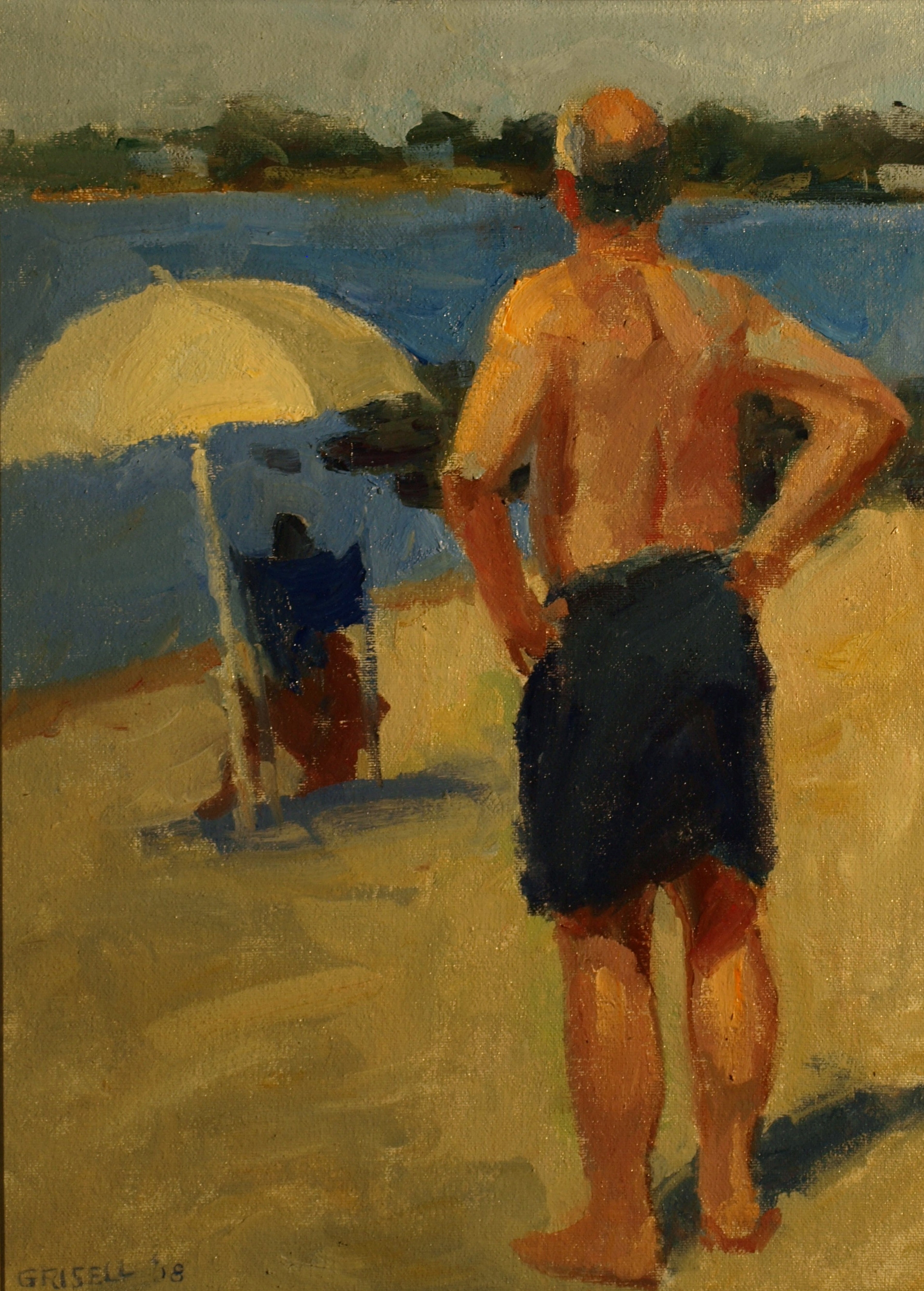 Beach Day, Oil on Canvas on Panel, 16 x 12 Inches, by Susan Grisell, $300