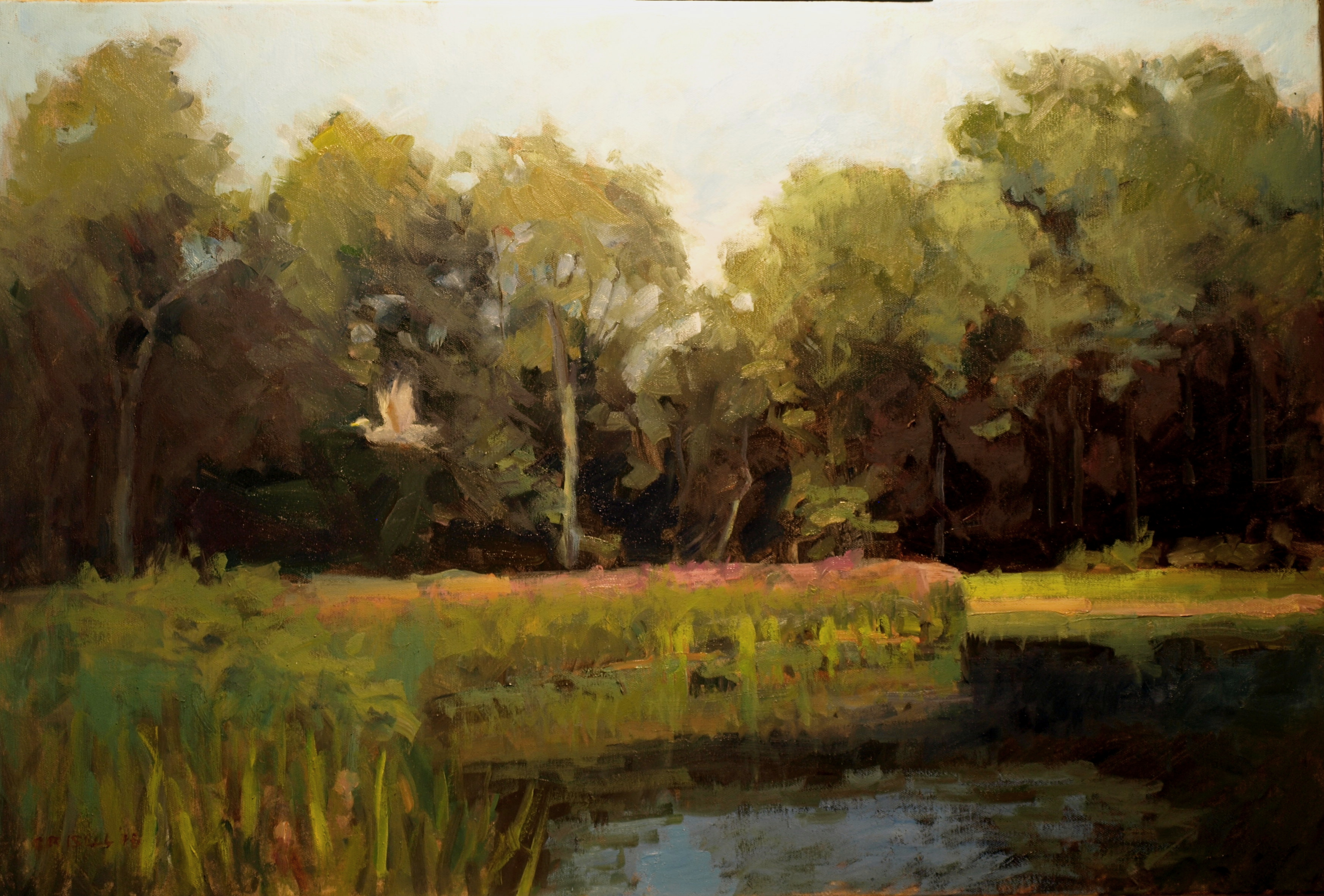 Canal at Bulls Bridge, Oil on Canvas, 24 x 36 Inches, by Susan Grisell, $1500