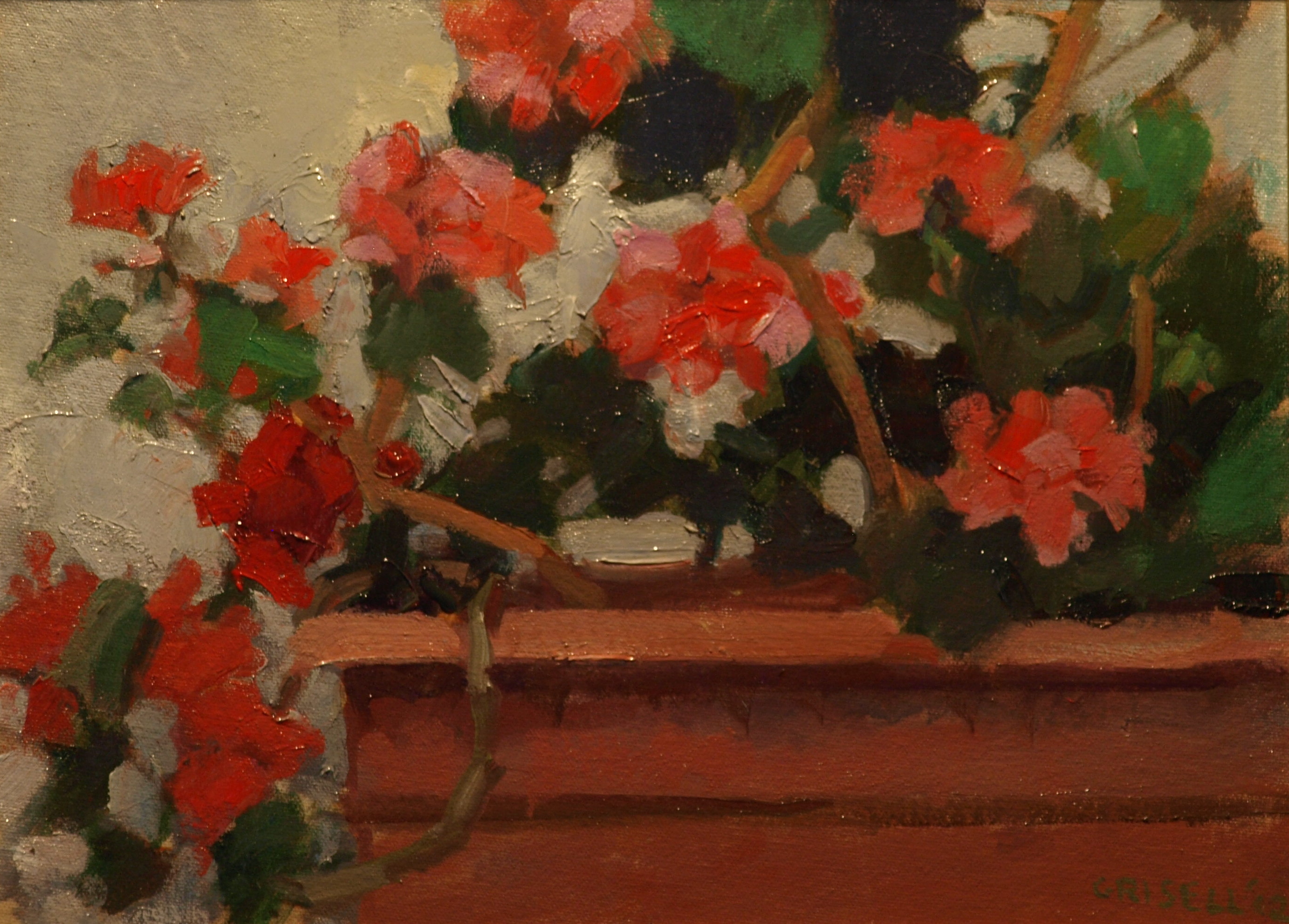 Geraniums, Oil on Canvas on Panel, 12 x 16 Inches, by Susan Grisell, $275