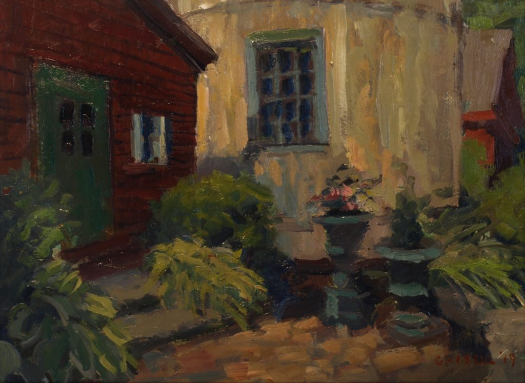 Patio, Oil on Panel, 12 x 16 Inches, by Susan Grisell, $300