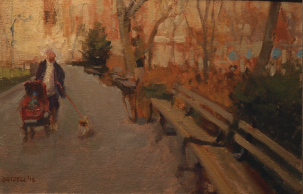 Walk in the Park, Oil on Canvas on Panel, 12 x 18 Inches, by Susan Grisell, $275