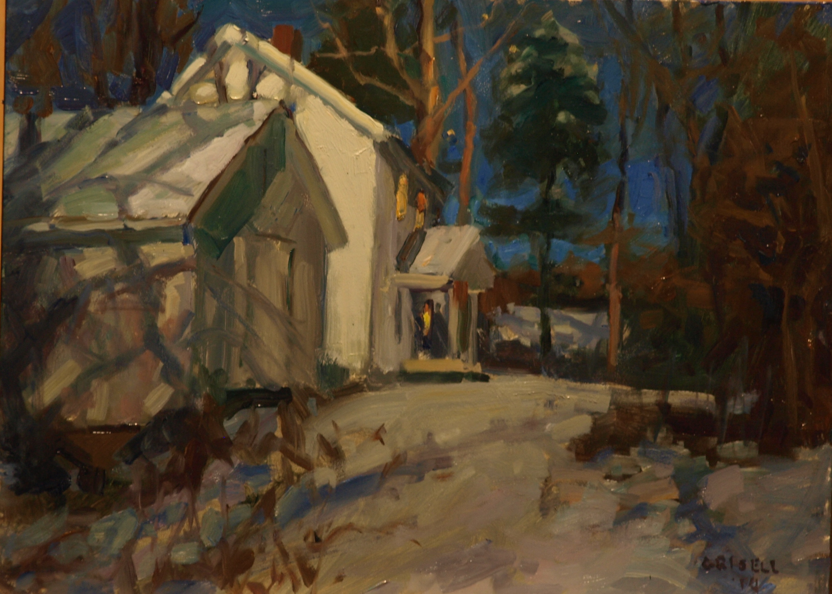 Winter Evening, Oil on Panel, 12 x 16 Inches, by Susan Grisell, $275