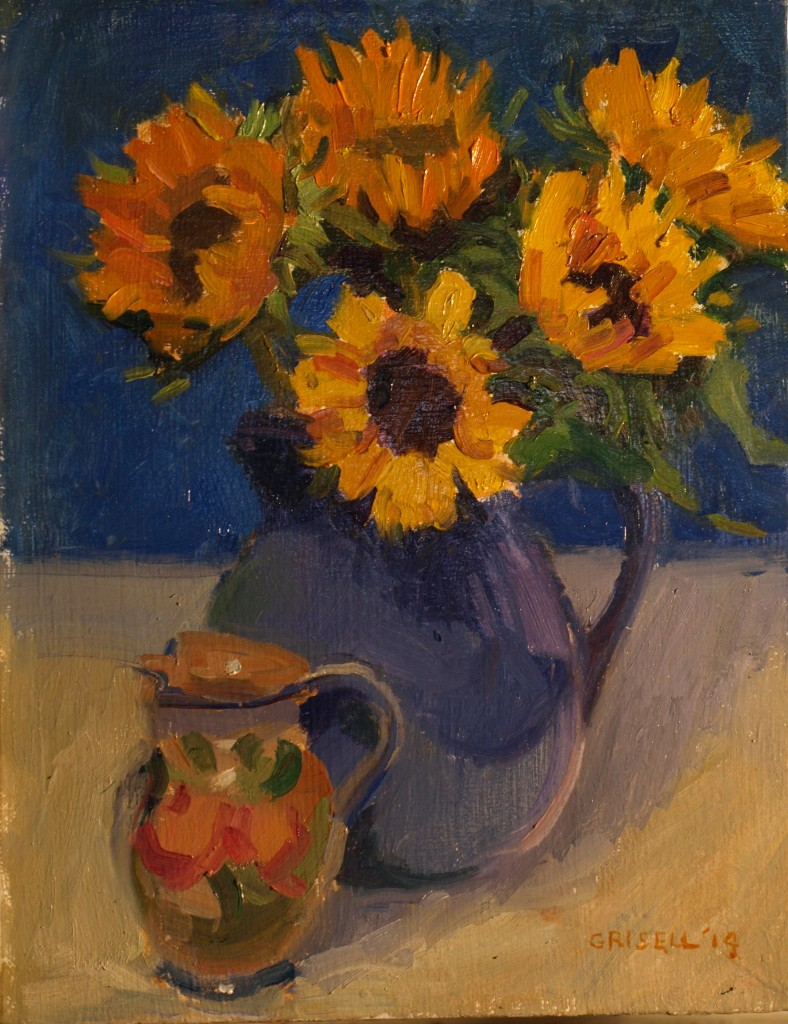 Yellow and Blue, Oil on Canvas, 11 x 14 Inches, by Susan Grisell, $300