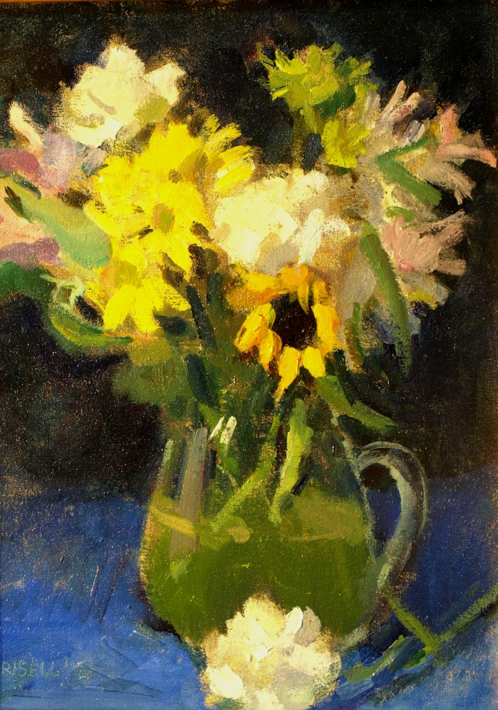 Bouquet with Sunflower, Oil on Canvas on Panel, 16 x 12 Inches, by Susan Grisell, $300