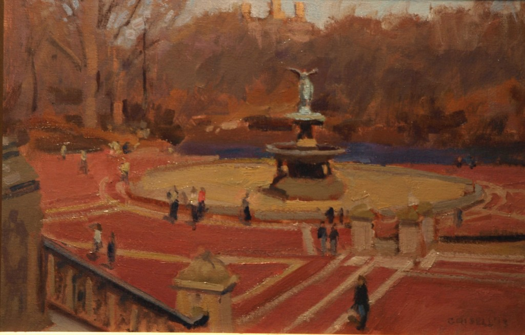Bethesda Fountain, Oil on Canvas on Panel, 12 x 18 Inches, by Susan Grisell, $275