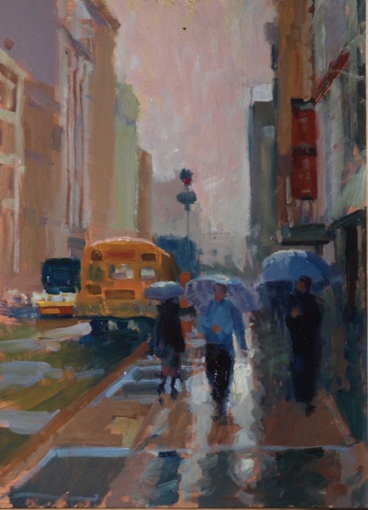 Rain - Soho, Oil on Panel, 16 x 12 Inches, by Susan Grisell, $275