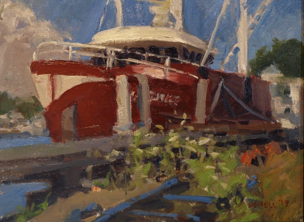 Red Boat in Stonington, Oil on Panel, 14 x 18 Inches, by Susan Grisell, $450