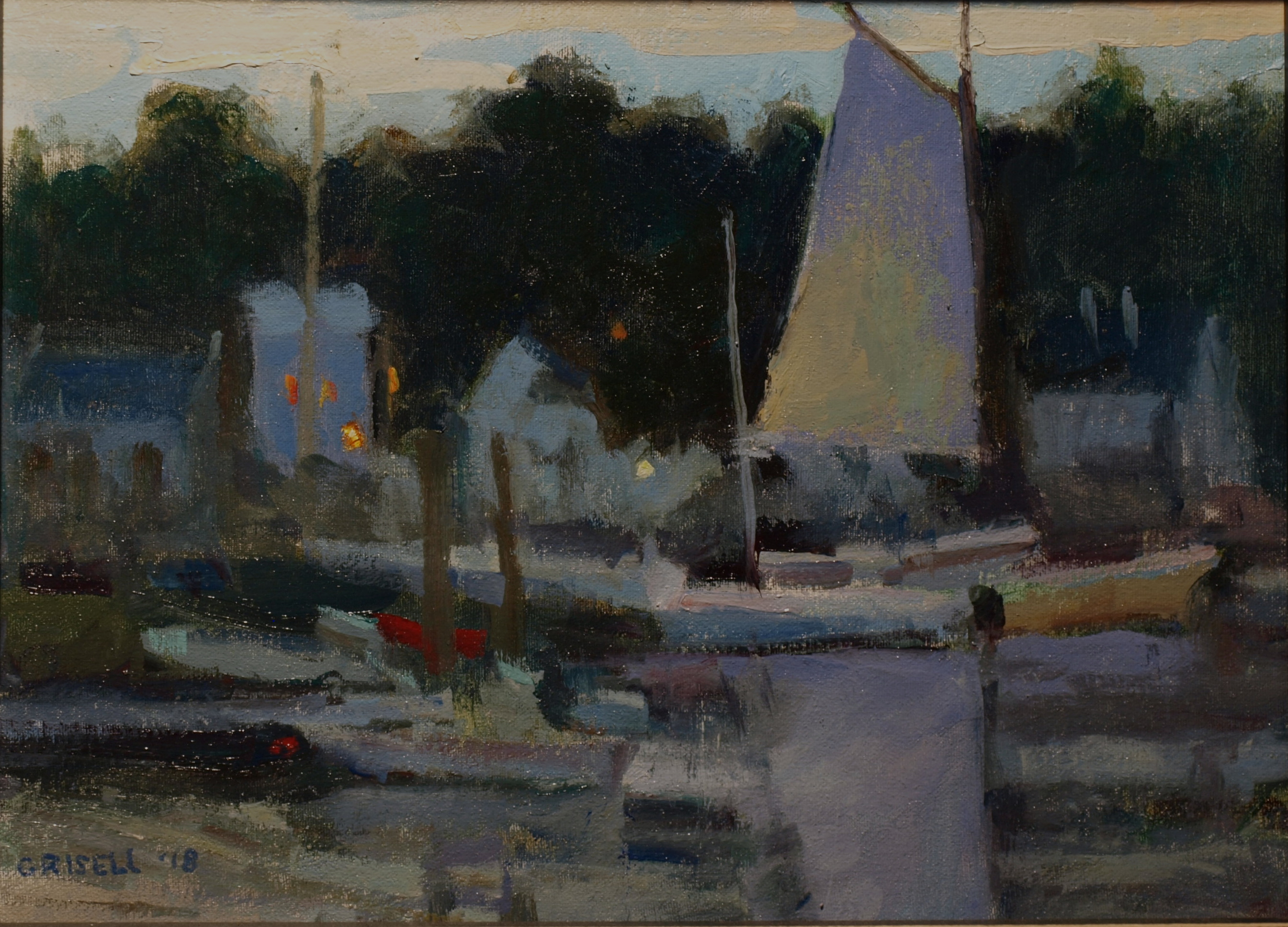 Sailboat at Dusk, Oil on Canvas on Panel, 12 x 16 Inches, by Susan Grisell, $300