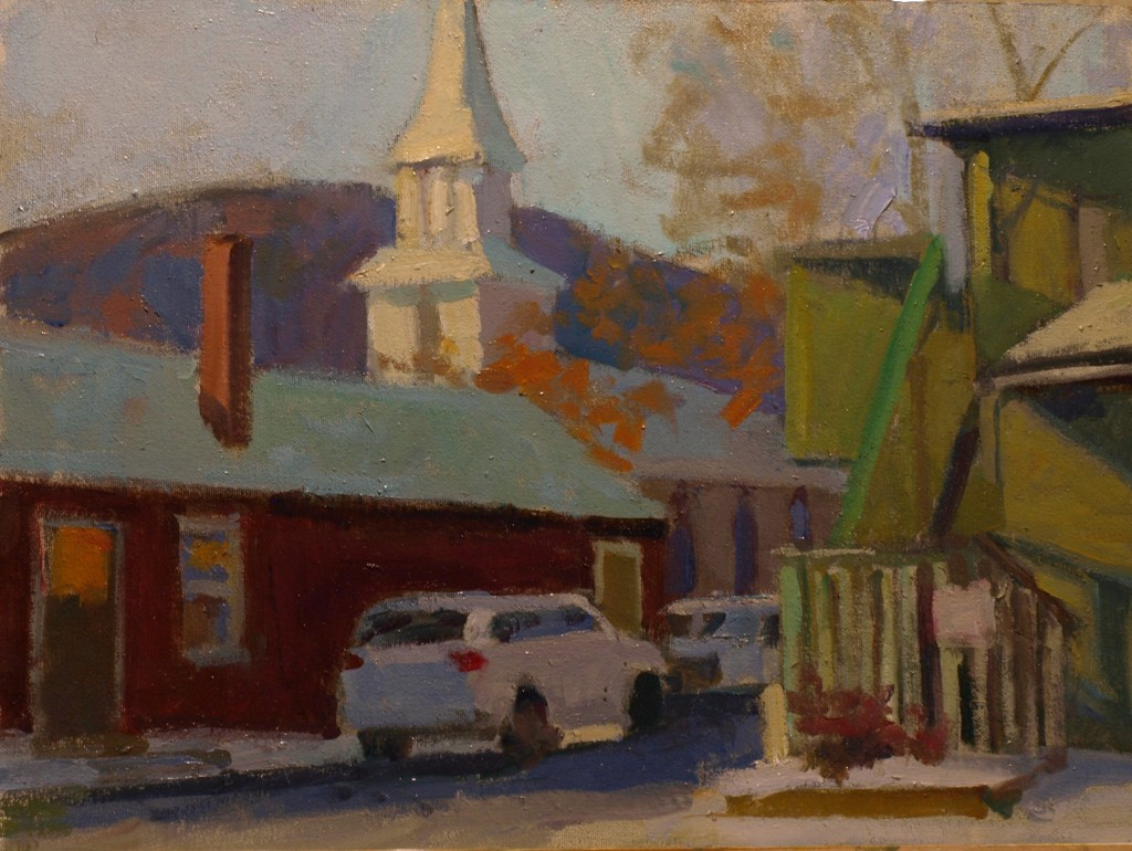 Steeple -- St Andrews, Oil on Canvas on Panel, 12 x 16 Inches, by Susan Grisell, $300