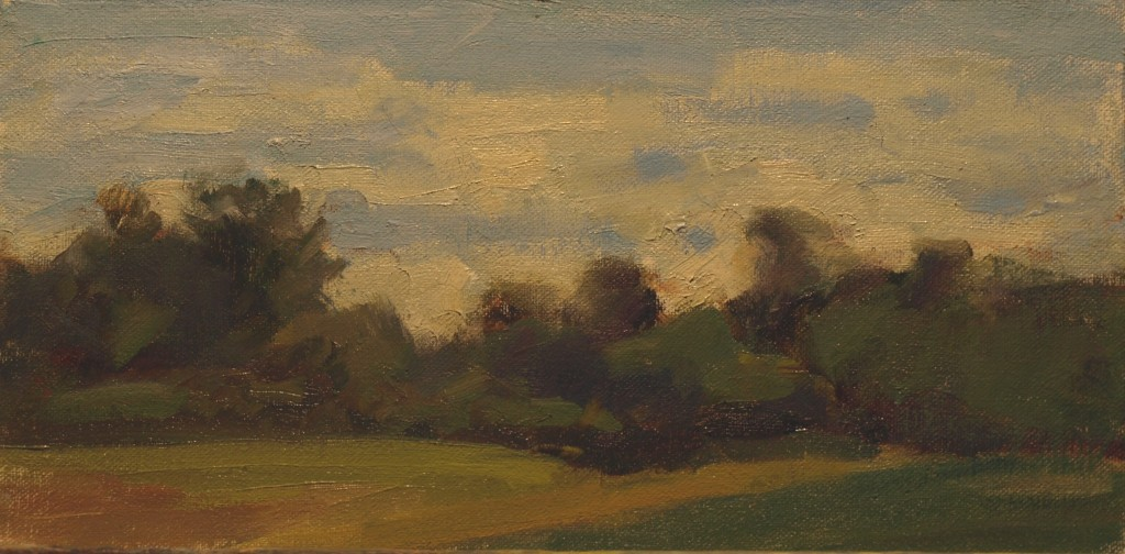 Treeline, Oil on Canvas on Panel, 6 x 12 Inches, by Susan Grisell, $150