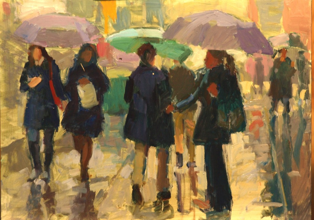 Black Raincoats, Oil on Panel, 12 x 16 Inches, by Susan Grisell, $275