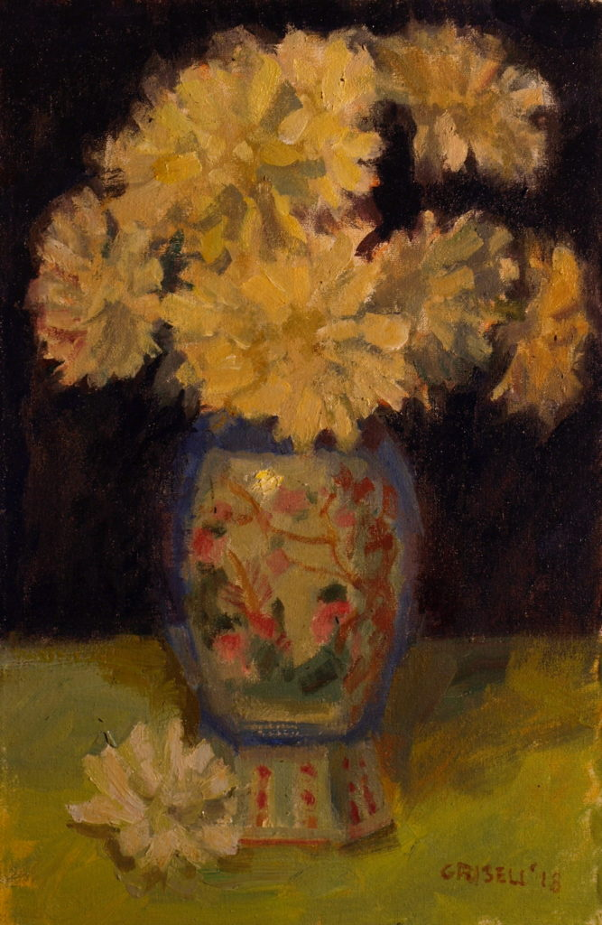 Chinese Vase, Oil on Canvas on Panel, 18 x 12 Inches, by Susan Grisell, $300