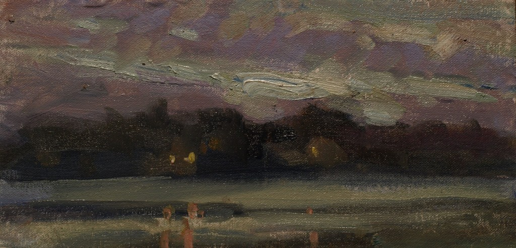 Evening on Mystic River, Oil on Canvas on Panel, 6 x 12 Inches, by Susan Grisell, $200