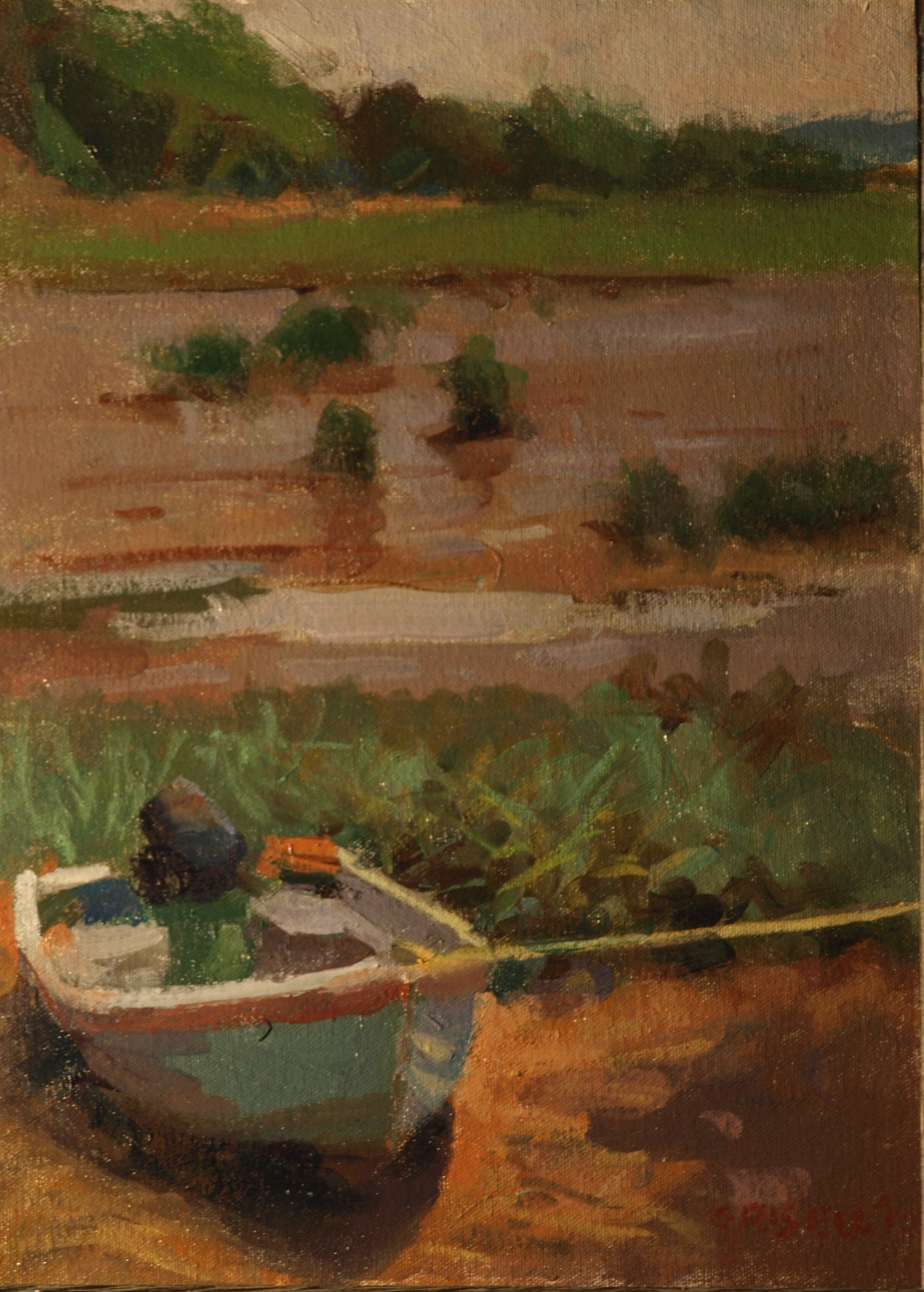 Little Blue Lifeboat, Oil on Canvas on Panel, 16 x 12 Inches, by Susan Grisell, $275