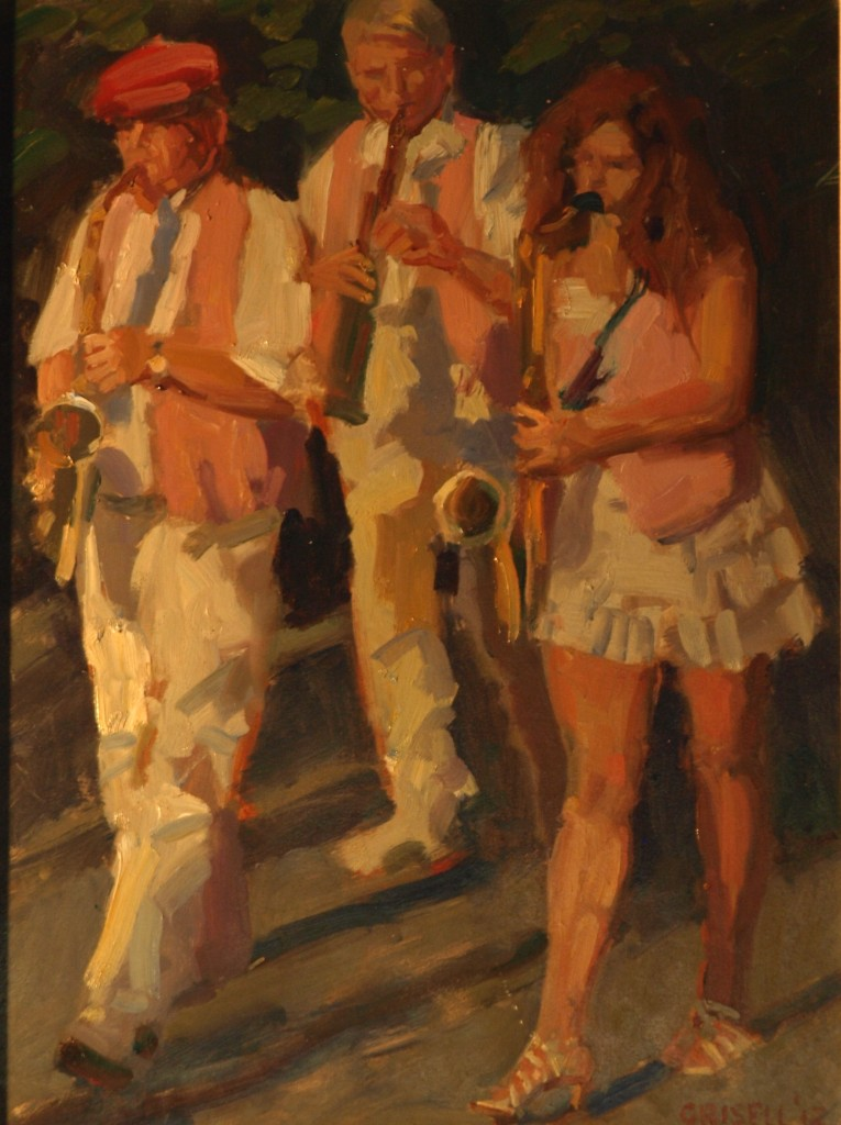 Marching Band, Oil on Canvas on Panel, 16 x 12 Inches, by Susan Grisell, $275