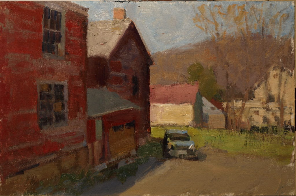 Behind the Library, Oil on Canvas on Panel, 12 x 16 Inches, by Susan Grisell, $275