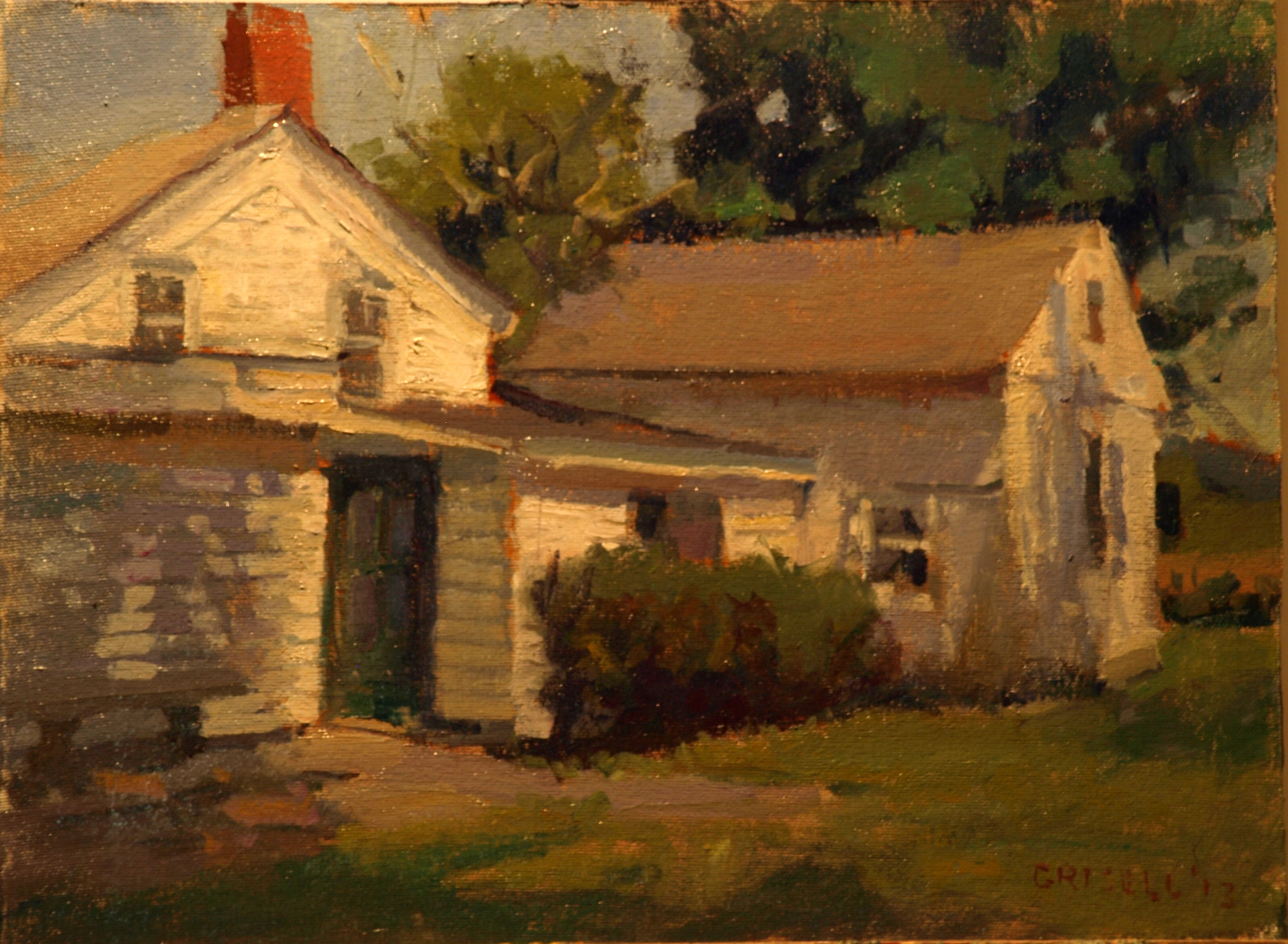 Farmhouse, Oil on Canvas on Panel, 12 x 16 Inches, by Susan Grisell, $275