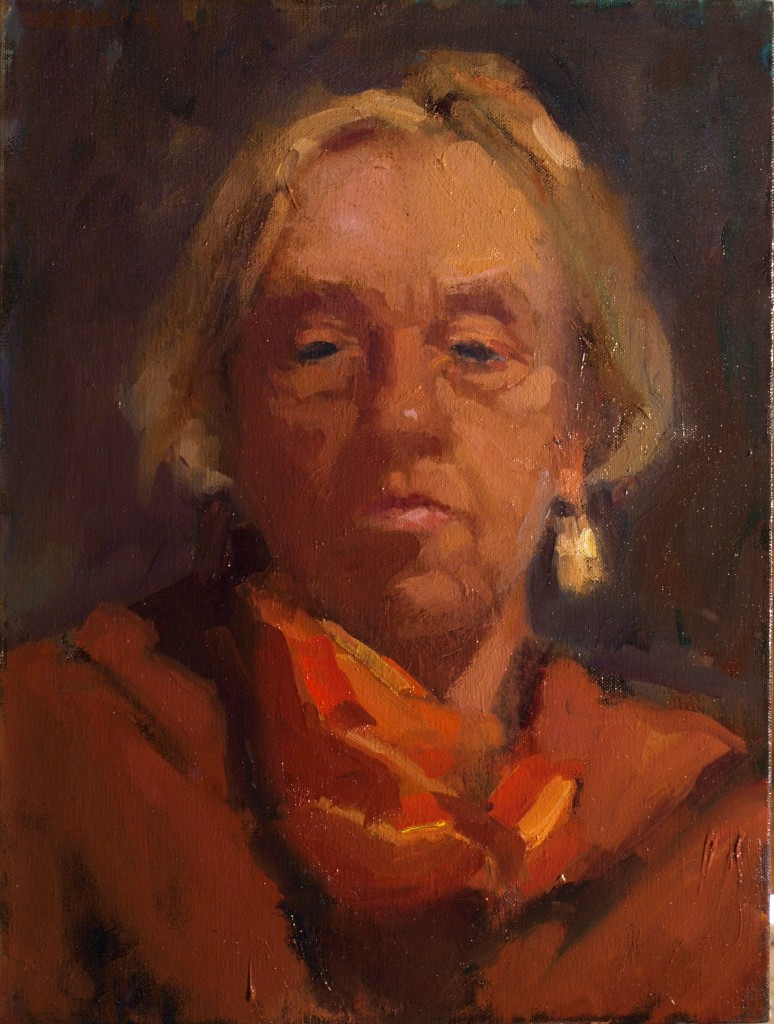 Self Portrait with Scarf, Oil on Canvas, 16 x 12 Inches, by Susan Grisell, $295