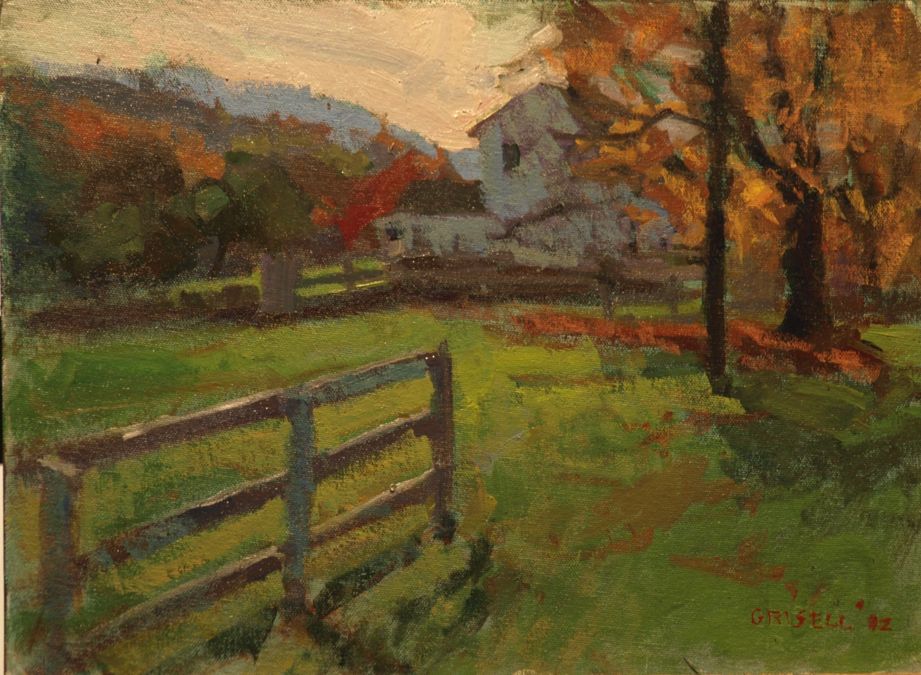 Fence and Farmhouse, Oil on Canvas on Panel, 12 x 16 Inches, by Susan Grisell, $275