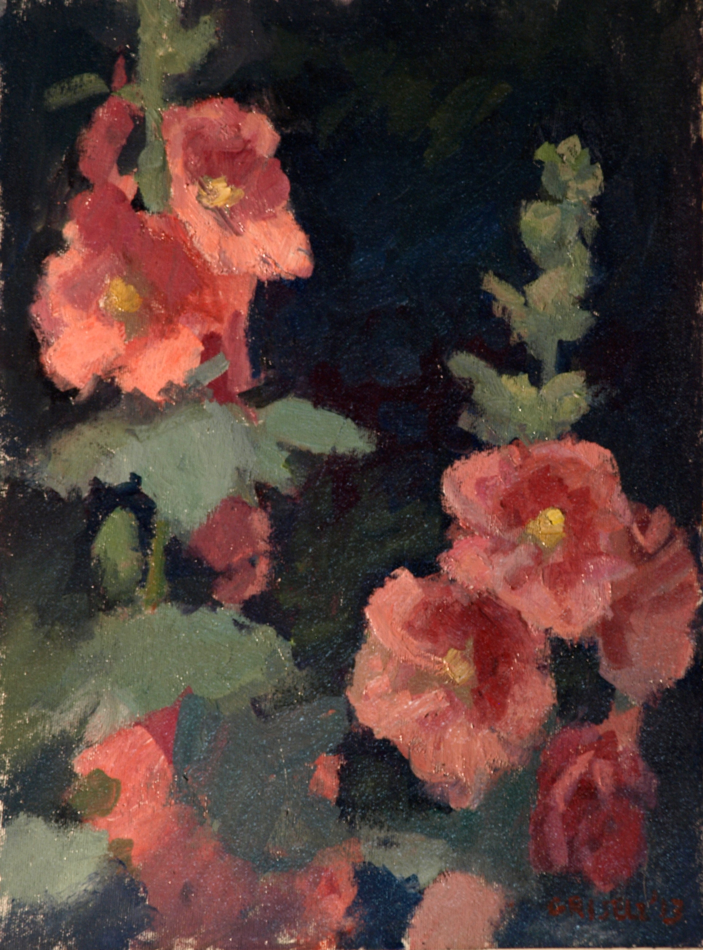 Hollyhocks, Oil on Canvas on Panel, 16 x 12 Inches, by Susan Grisell, $275